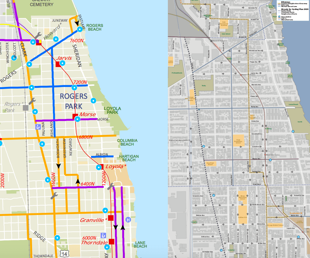 Current routes between the Lakefront Trail and Evanston and the Rogers Park Greenway Route